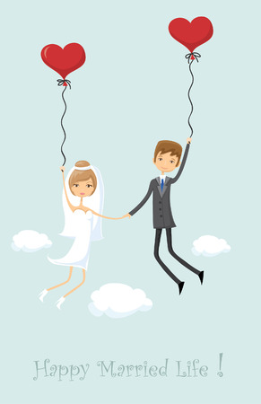balloon woman: Wedding picture, bride and groom in love