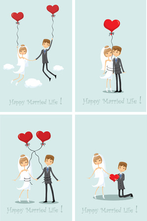 bride groom: Set of wedding pictures, bride and groom in love, the vector Illustration