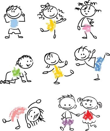 Cute happy cartoon doodle kids Stock Illustratie