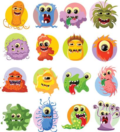 toy story: Cartoon cute monsters and bacterias