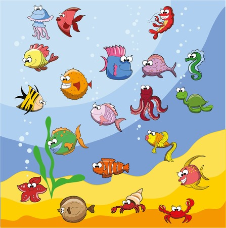 flounder: Set of cute cartoon fishes