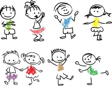 cool kids: Cute happy cartoon doodle kids Illustration