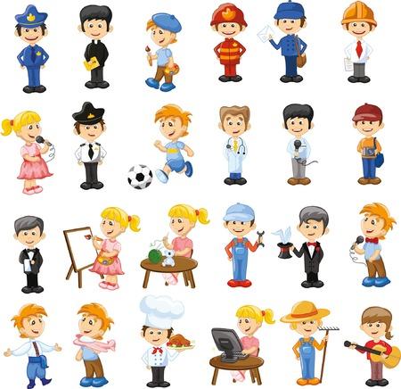 Personaggi dei cartoni animati di diverse professioni Archivio Fotografico - 34433727
