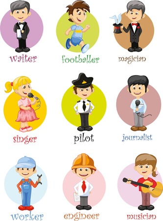 jobs people: Cartoon characters of different professions