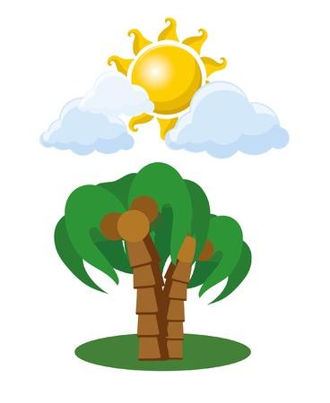 Bomen en zon cartoon