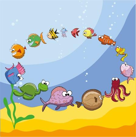 Cartoon cute sea fishes Çizim