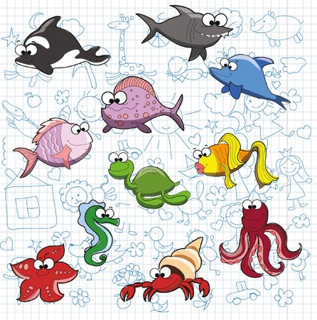 Set of cute cartoon fish on the doodle background