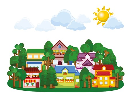 homes: Cartoon background with cute houses