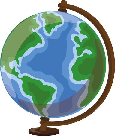 country life: Cartoon Desk Globe