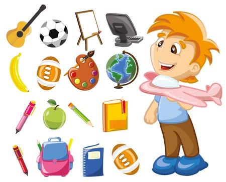 art palette: Cartoon school icons Illustration