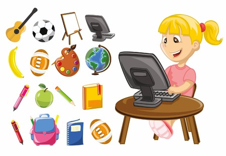 cartoon school girl: Cartoon school icons Illustration