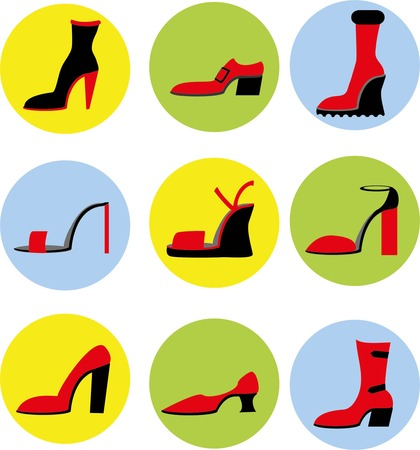 heels shoes: Vector icons of different shoes