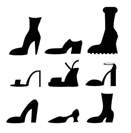 Vector iconen van verschillende schoenen