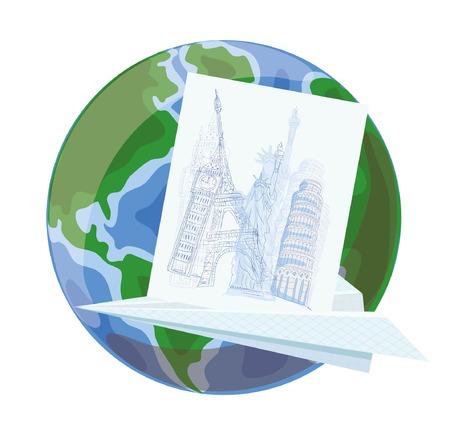 Cartoon globe and paper plane Vector