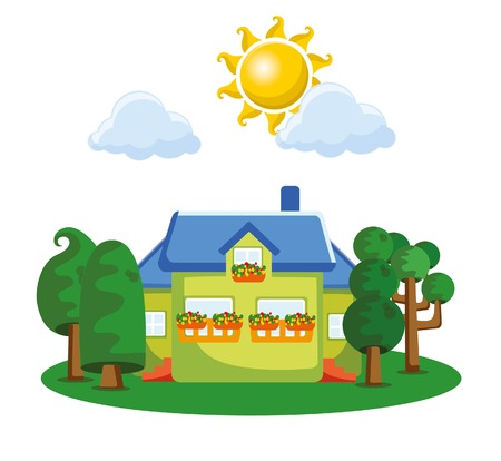 first house: Cartoon background with cute houses