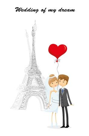 bid: Fondo de la boda, la novia y el novio cerca del Ben Oferta Vectores