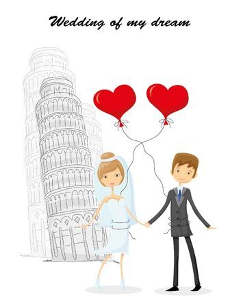 bid�: Wedding background, bride and groom near the Bid Ben