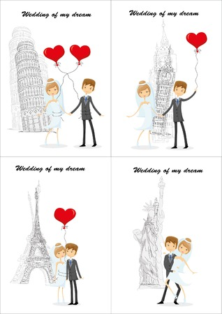 Wedding background, bride and groom in different