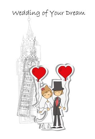 Wedding background, bride and groom near the Bid Ben Фото со стока - 34899393