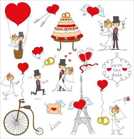 romantic: Doodle wedding set