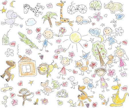 Kinderzeichnungen von doodle Tiere Standard-Bild - 35099501