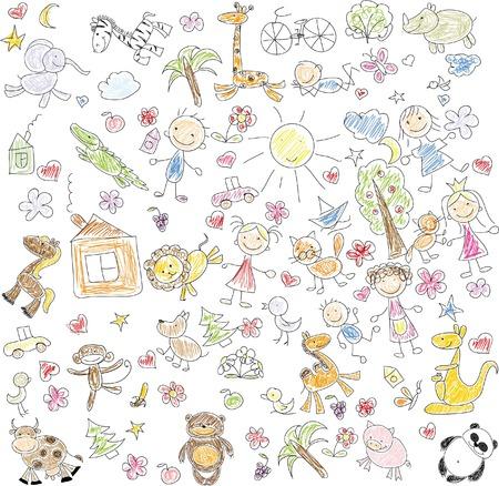 Children\'s drawings of doodle animals