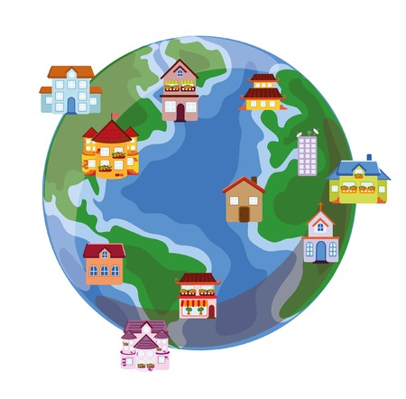 home school: Vector houses on the earth