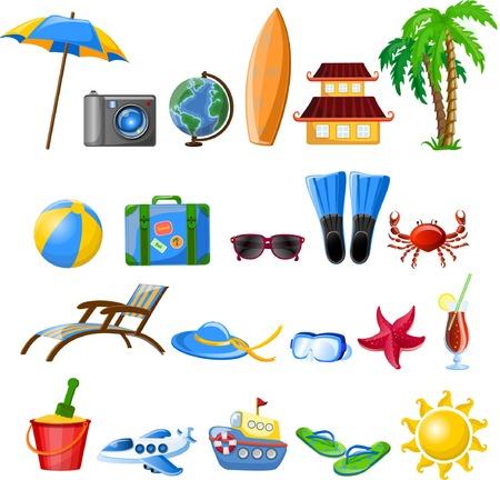 summer holiday: Travel cartoon icons