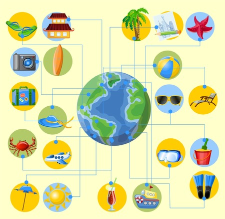 Travel cartoon icons on the globe Vector