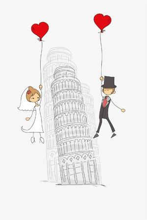 Wedding background, bride and groom