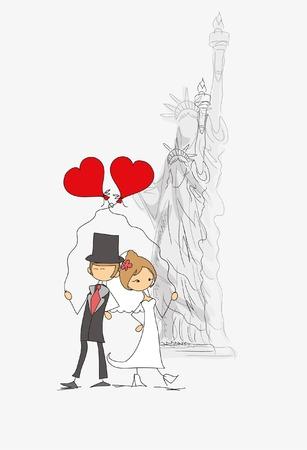 Wedding background, bride and groom in USA Illustration