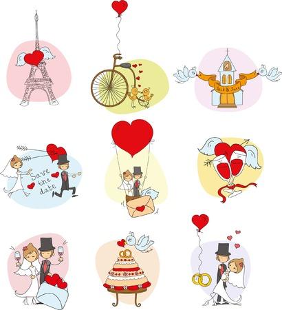 Conjunto de boda Doodle Foto de archivo - 35266336