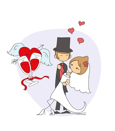 wedding dress: Wedding doodle background