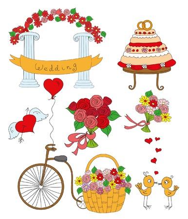 Doodle wedding or valentine set