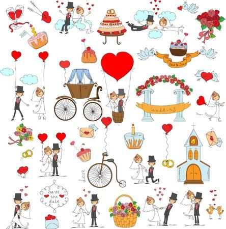 Doodle wedding set