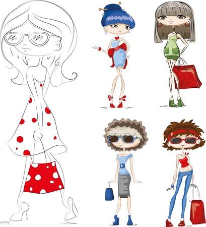 girl in red dress: Cartoon fashionable girls