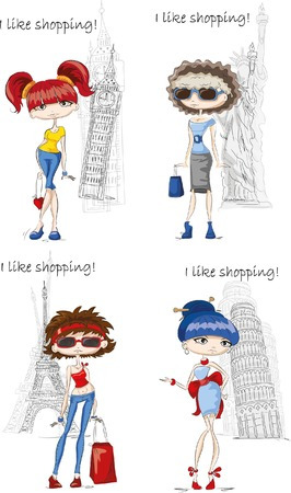 Fashion girls in different country, vector background Reklamní fotografie - 35547716