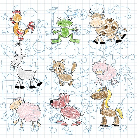 kid goat: Animals drawing Illustration