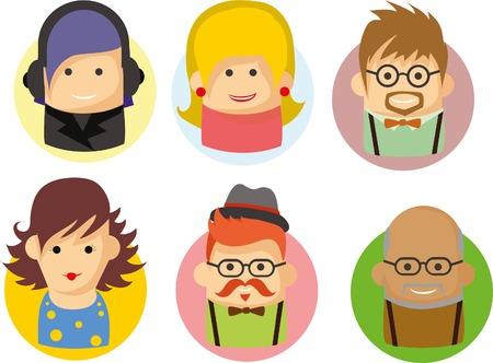 jobs people: Set of cute avatar icons Illustration