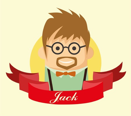 Set of cute avatar icon of hipster Vector