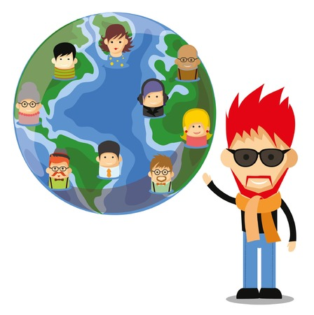 Set of cute avatar icons on the globe Vector