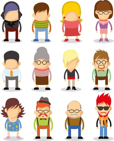 Set of cute character icons in flat design Vector