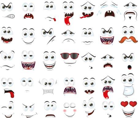 caras emociones: Caras de la historieta con emociones Vectores