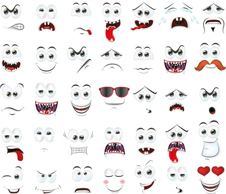 smiling faces: Cartoon faces with emotions