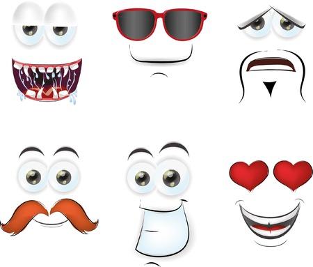 caras graciosas: Caras de la historieta con emociones Vectores