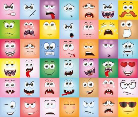 caras tristes: Caras de la historieta con emociones Vectores