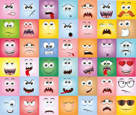 sad love: Cartoon faces with emotions