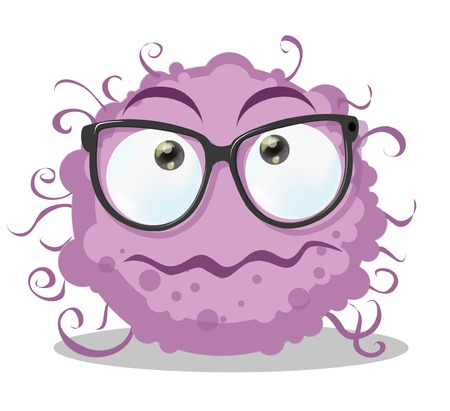 fictitious: Cartoon cute monster with glasses
