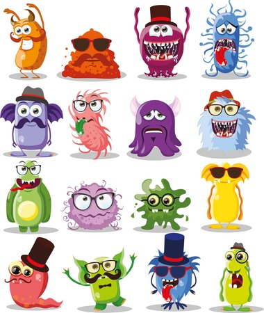 ugly gesture ugly gesture: Vector cartoon set of cute hipster monsters Illustration
