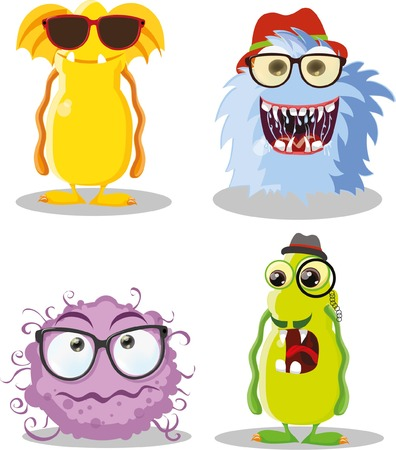 toy story: Vector cartoon set of cute hipster monsters Illustration